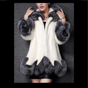 Faux fur lined hooded coat
